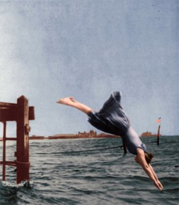 Woman diving from pier in 1892 (originally appeared in Victoriana Magazine)