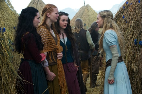 """RRH-22838r (L-r) CARMEN LAVIGNE as Rose, SHAUNA KAIN as Roxanne, KACEY ROHL as Prudence and AMANDA SEYFRIED as Valerie in Warner Bros. Pictures' fantasy thriller """"RED RIDING HOOD,"""" a Warner Bros. Pictures release."""